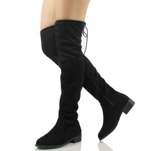 Shoes - Black Faux Suede Over the Knee Back Tie  Boot